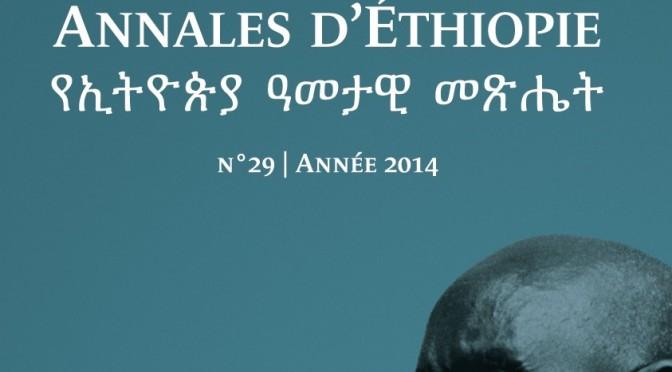 Annales d'Éthiopie, vol. 29, 2014