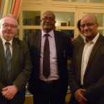 From left to right: Jean-Michel Le Dain, cultural attaché, French Embassy, Ahmed Hassen Omer, & Prof. Bahru Zewde